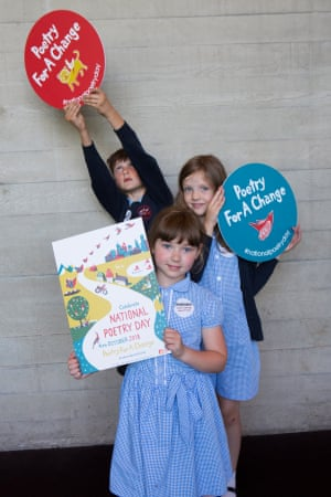 Young supporters of National Poetry Day.