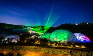 Christmas light show at the Eden Project, Cornwall.