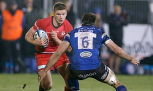 Owen Farrell attacks during Saracens' victory at Bath.