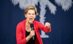 Elizabeth Warren in South Carolina in October. 'Over and over,' she said in the email, 'we are told that women are not allowed to be angry.'