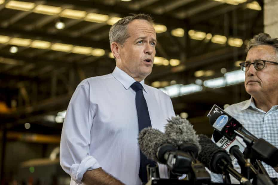 Bill Shorten with Wayne Swan (right) at Watkins Steel in Brisbane earlier this year. Swan has been one of the Labor voices warning Labor against offering 'trickle-down lite' at the next election.