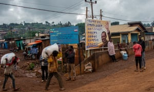 A poster celebrating Ethiopia's prime minister, Abiy Ahmed, in Gedeb town
