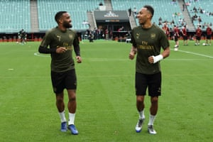 Alexandre Lacazette and Pierre-Emerick Aubameyang during training in Baku on Tuesday.