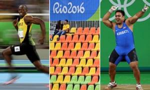 Usain Bolt, empty seats and dancing weightlifter David Katoatau at the Rio Olympics.