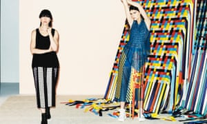 In the weave: Martina Spetlova (left) with a model wearing a smocked perforated top with woven panels, interwoven apron, leather skirt and tapes.