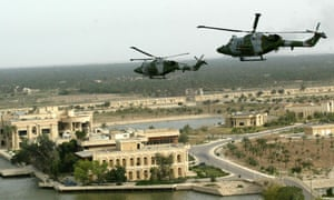 British Lynx helicopters on combat patrol over Basra in 2003.