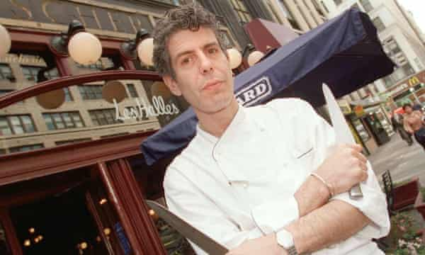 Bourdain outside French bistro Les Halles in New York in 2000.