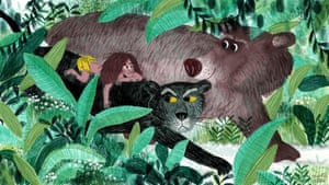 Children's book author and illustrator Marta Altés says: 'Both living in the jungle and having animal friends are things I dreamed about when I was a kid. When I read the Jungle Book, I was a bit jealous of all the adventures Mowgli had. I've drawn Mowgli telling Bagheera about his lessons with Baloo, who looks proud because of all the jungle tongues he can speak. Bagheera isn't sure though – I don't think he believes this is enough to keep Mowgli safe from all the dangers of the jungle, especially Shere Khan...'