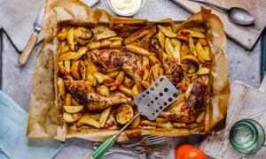 Slow-roast chicken leg, lemon potatoes and skordalia.