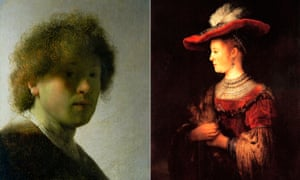 Rembrandt's Self Portrait as a Young Man, also known as Self-Portrait with Dishevelled Hair, c1628, left, and Half-length Figure of Saskia in a Red Hat, 1642, right