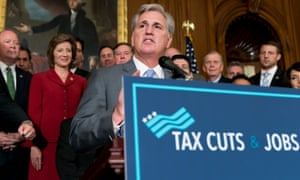 US House Majority Leader Kevin McCarthy addresses a news conference after the House passed tax cut plans.