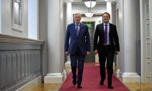 Leo Varadkar (right) with the EU Brexit chief negotiator, Michel Barnier in Dublin this month.