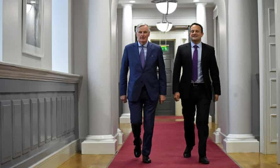 Leo Varadkar (right) with the EU Brexit chief negotiator, Michel Barnier in Dublin this month.