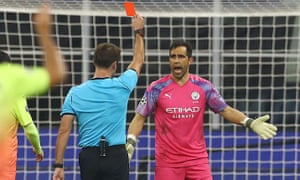 Claudio Bravo replaced Ederson at half-time in Italy but was sent off 36 minutes later in Manchester City's 1-1 draw against Atalanta.
