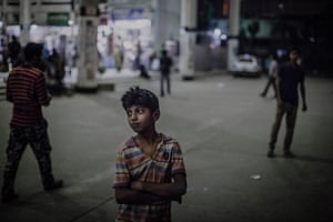 Shohag, who is about 12, at Kamalapur station