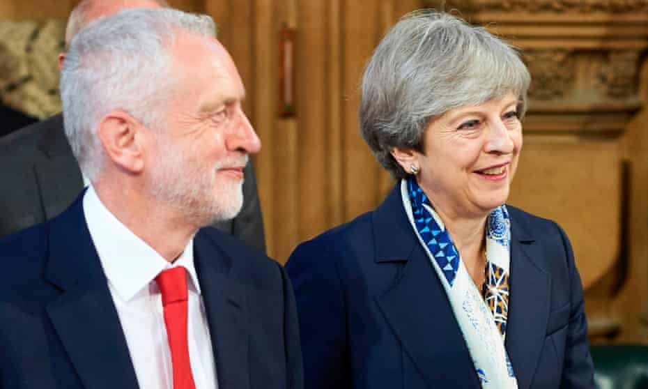 Jeremy Corbyn (left) and Theresa May.