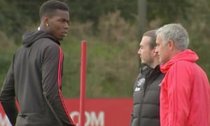 Paul Pogba's reaction after Jose Mourinho spoke to him at training