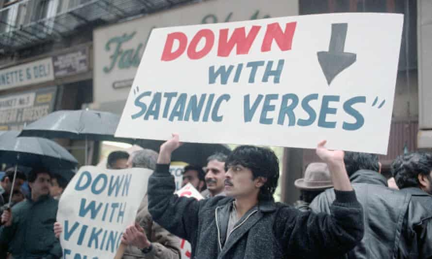 Demonstrators protesting The Satanic Verses in New York in February 1989, just after the fatwa was issued by Ayatollah Khomeini.