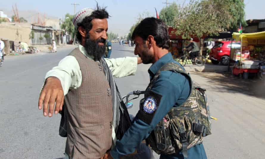 A security check in Helmand, Afghanistan