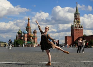 Armstrong poses for a photograph in Red Square.