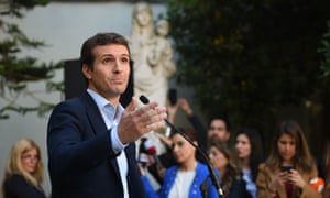 Pablo Casado, leader of the Partido Popular (People's Party) addresses members of the press after casting his vote at an electoral college on April 28, 2019 in Madrid, Spain.