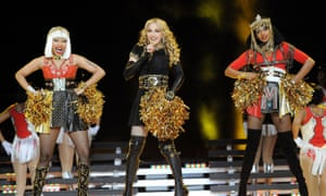 From left: Nicki Minaj, Madonna and MIA perform during the Super Bowl halftime show in 2012.