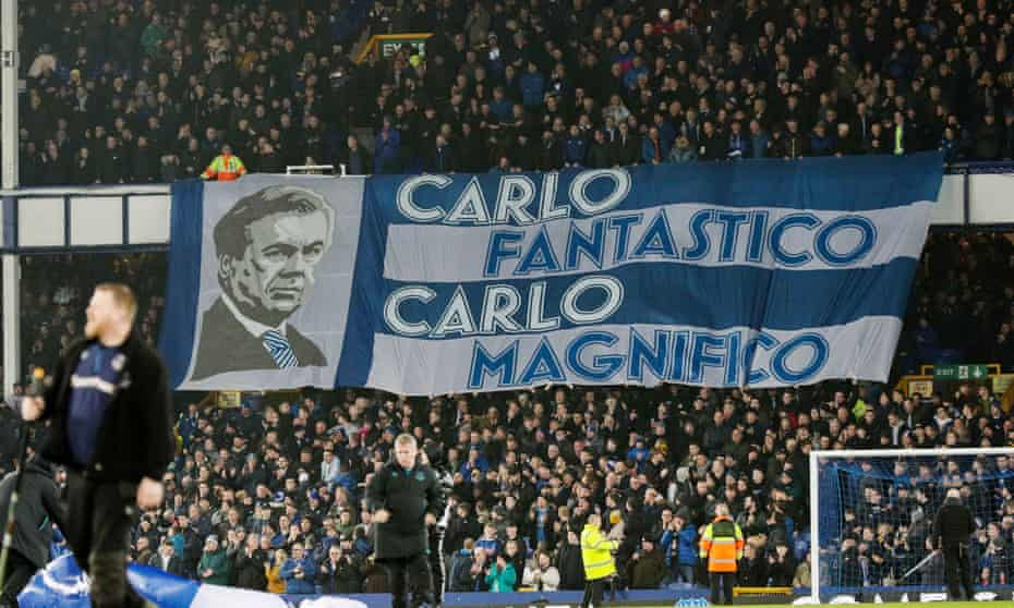 Everton fans pay tribute to their new manager Carlo Ancelotti during the league match against Newcastle in January.