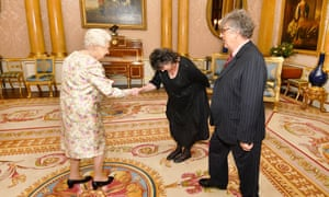 The outgoing poet laureate, Carol Ann Duffy, before she presented Paul Muldoon with the Queen's Gold Medal for poetry.