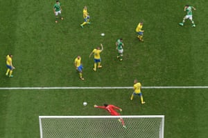 Wes Hoolahan (top right) of Republic of Ireland opens the scoring in their 1-1 Group E draw against Sweden.