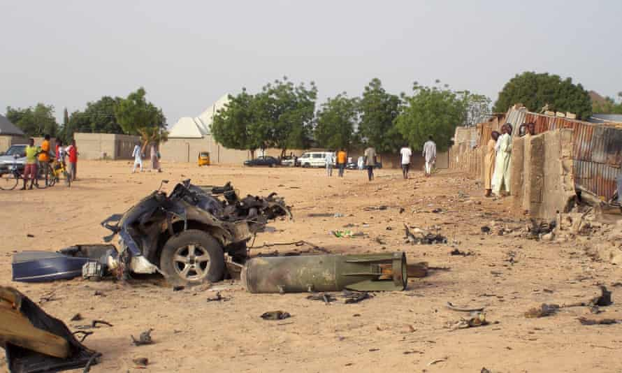 Site of a previous attack by Boko Haram militants in the north-eastern city of Maiduguri on 27 April