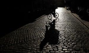 A bike delivery man is seen on a Dublin street after coronavirus lockdown