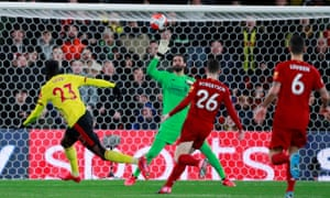Ismaïla Sarr scores for Watford past Liverpool's Alisson at Vicarage Road