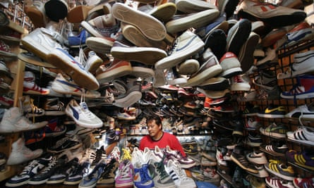 Stalls selling trainers at Bangkok's Chatuchak Weekend Market.