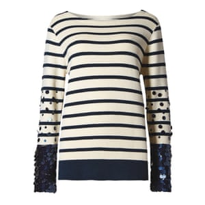 navy and cream breton striped top with sequins on sleeves M&S
