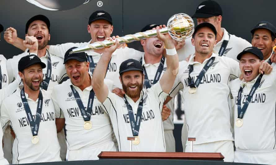 New Zealand's Kane Williamson holds aloft the trophy after his team were crowned world Test champions