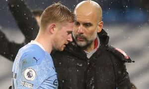Manchester City's Kevin De Bruyne has been ruled out for four to six weeks with a hamstring injury.