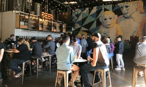 Modern Times bar and its Michael Jackson and Bubbles mosaic, made out of thousands of Post-It notes. San Diego. US.