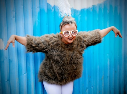 The actor and disability arts advocate Sarah Houbolt as KooKoo the Bird Girl.