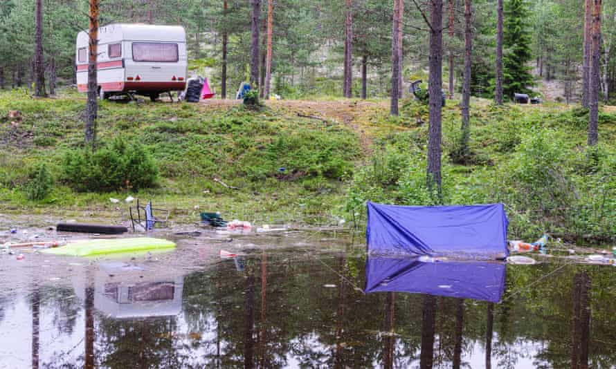 'We found an unused spot on flat ground' … flooded camping equipment after heavy rain.