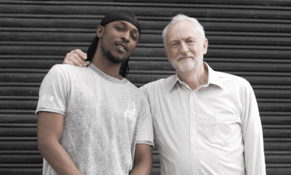 Jeremy Corbyn and grime MC JME.