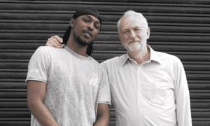 Man do care... JME poses with Jeremy Corbyn.