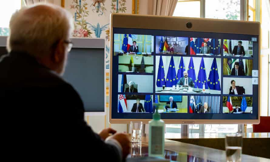 The European council leader's video conference, as seen from Paris.