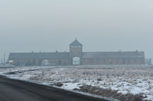 A view of the main entrance to Auschwitz-Birkenau camp