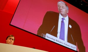 John Prescott listens to Ken Livingstone at the Labour party conference in 2005.
