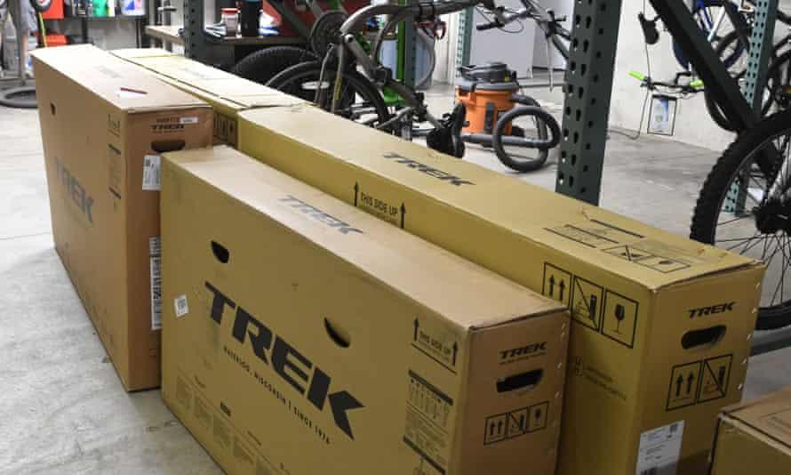 Trek boxes in a bike workshop