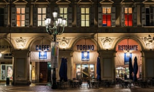 Night exterior view of Caffe Torino, Piazza San Carlo,
