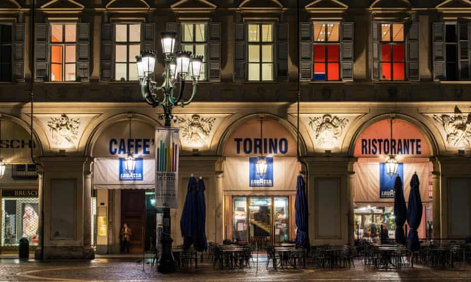Night exterior view of Caffe Torino, Piazza San Carlo,