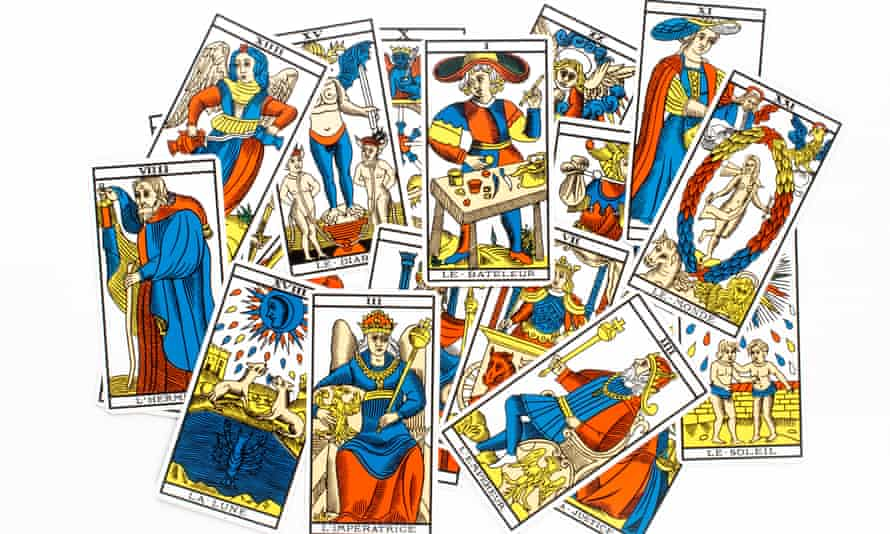 Tarot card draw isolated on white background