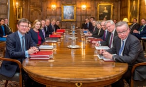 Members of Theresa May's cabinet at a meeting at Chequers.