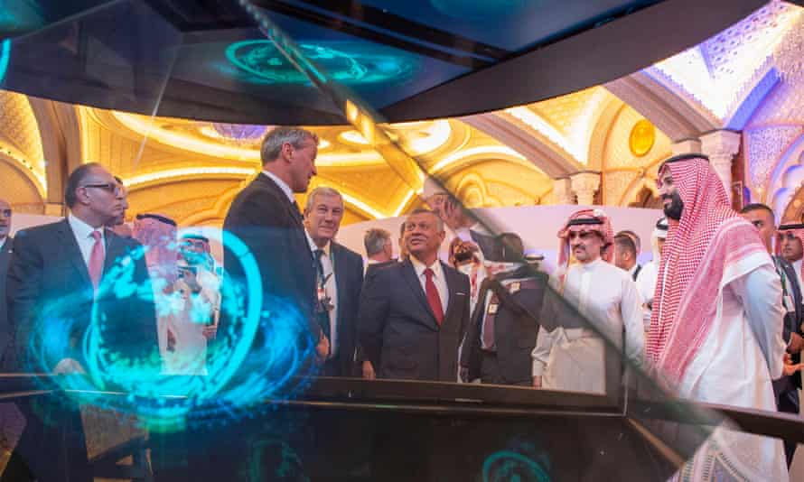 Mohammed bin Salman (right) at the Future Investment Initiative conference in Riyadh